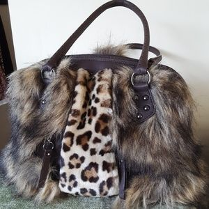 61db964374 Adrienne Landau Faux Fur handbag NWOT